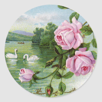 Vintage Love Stickers - Swans