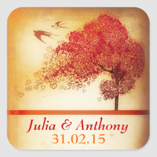 vintage love tree save the date sticker