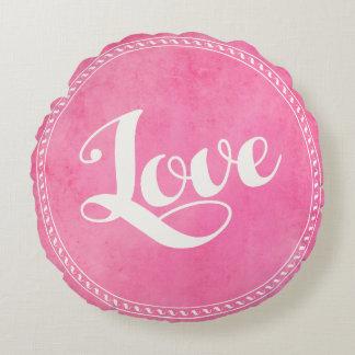Vintage love typography round cushion