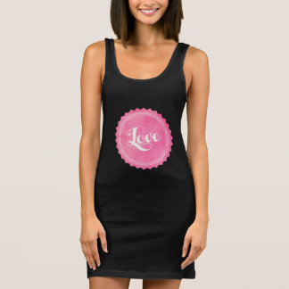 Vintage love typography sleeveless dress
