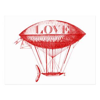 Vintage Love Zeppelin Red Postcard