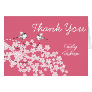 Vintage Lovebird Cherry Blossom Wedding Thank You Card