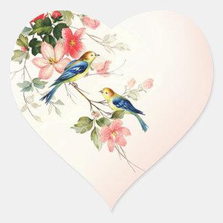 vintage lovebirds | blush pink white heart sticker