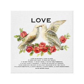 Vintage Lovebirds Red Roses Love Is Gallery Wrap Canvas