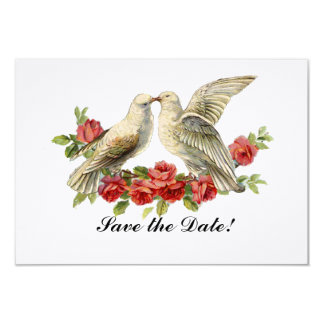 Vintage Lovebirds Red Roses Save the Date 9 Cm X 13 Cm Invitation Card