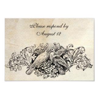 Vintage Lovebirds RSVP with envelopes Card