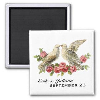 Vintage Lovebirds Square Magnet