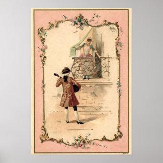 Vintage Lovers Illustration Poster