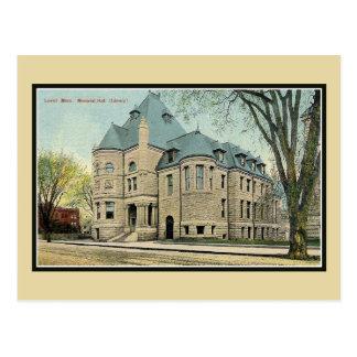 Vintage Lowell MA Memorial Hall library Postcard