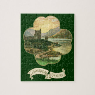 Vintage Lucky Gold Shamrock with an Irish Castle Jigsaw Puzzle