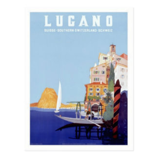 Vintage Lugano, Switzerland Travel Postcard