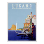 Vintage Lugano, Switzerland Travel Poster