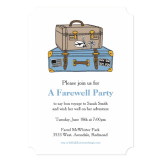 Vintage Luggage Farewell Party Invitation