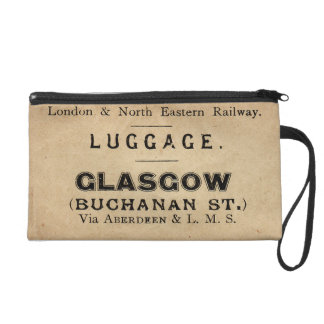 Vintage Luggage Label Glasgow Wristlet Clutch