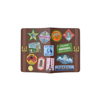 Vintage Luggage World Travel Suitcase Sticker Name Passport Holder
