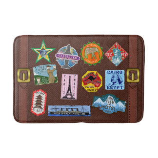 Vintage Luggage World Travel Suitcase Stickers Bath Mat