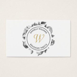 Vintage Luxe Circle Monogram Floral Designer Business Card