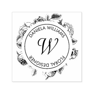 Vintage Luxe Circle Monogram Florals Rubber Stamp