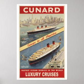 Vintage Luxury Cruises Travel Poster