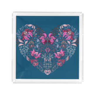 Vintage luxury design. Heart stylish pattern Acrylic Tray