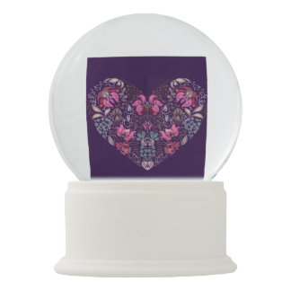 Vintage luxury design. Heart stylish pattern Snow Globe