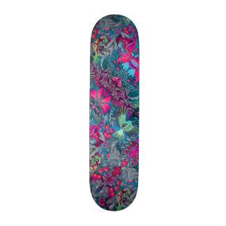 Vintage luxury floral garden blue bird lux pattern 20.6 cm skateboard deck