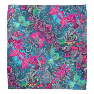 Vintage luxury floral garden blue bird lux pattern bandannas