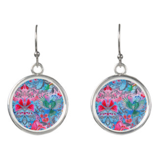 Vintage luxury floral garden blue bird lux pattern earrings