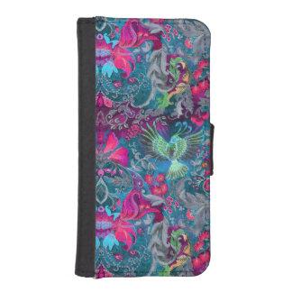 Vintage luxury floral garden blue bird lux pattern iPhone SE/5/5s wallet case