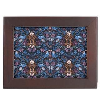 Vintage luxury floral garden blue bird lux pattern keepsake box
