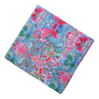 Vintage luxury floral garden blue bird lux pattern kerchiefs
