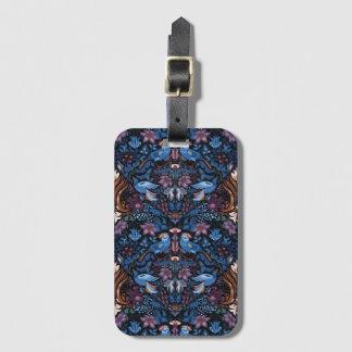 Vintage luxury floral garden blue bird lux pattern luggage tag