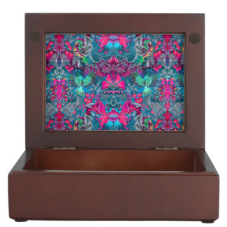 Vintage luxury floral garden blue bird lux pattern memory boxes