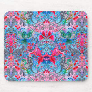 Vintage luxury floral garden blue bird lux pattern mouse pad