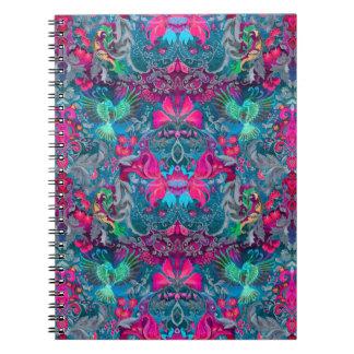 Vintage luxury floral garden blue bird lux pattern notebook