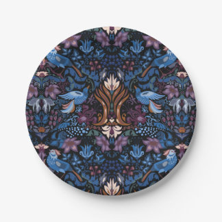 Vintage luxury floral garden blue bird lux pattern paper plate
