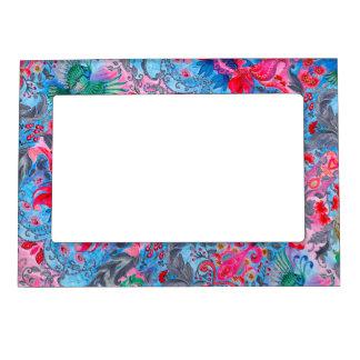 Vintage luxury floral garden blue bird lux pattern picture frame magnet
