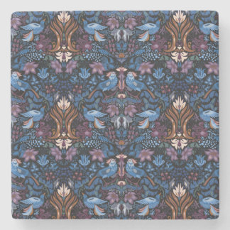 Vintage luxury floral garden blue bird lux pattern stone coaster