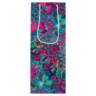 Vintage luxury floral garden blue bird lux pattern wine gift bag