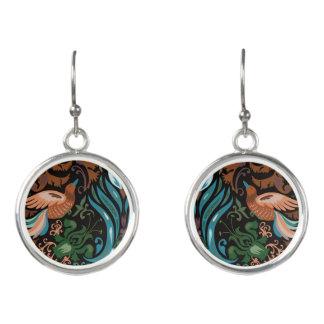 Vintage luxury floral garden gold bird lux pattern earrings