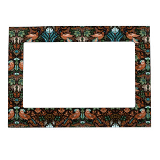 Vintage luxury floral garden gold bird lux pattern magnetic picture frame