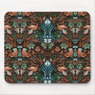 Vintage luxury floral garden gold bird lux pattern mouse pad