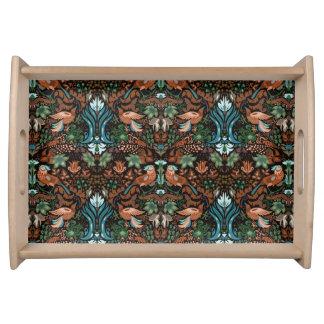 Vintage luxury floral garden gold bird lux pattern serving tray