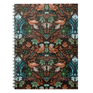 Vintage luxury floral garden gold bird lux pattern spiral notebooks