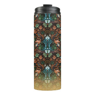 Vintage luxury floral garden gold bird lux pattern thermal tumbler