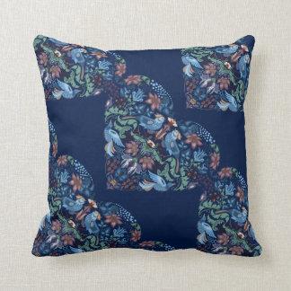 Vintage luxury Heart with blue birds happy pattern Cushion