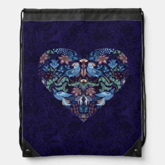 Vintage luxury Heart with blue birds happy pattern Drawstring Bag