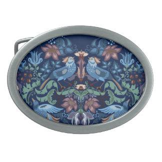 Vintage luxury Heart with blue birds happy pattern Oval Belt Buckles