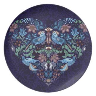 Vintage luxury Heart with blue birds happy pattern Plate