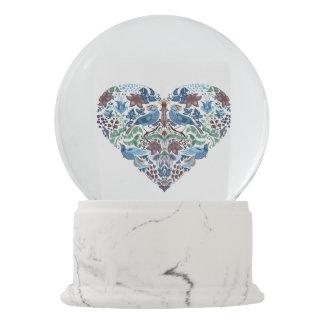 Vintage luxury Heart with blue birds happy pattern Snow Globe